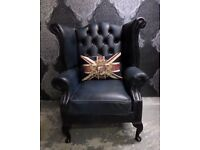 Stunning Vintage Chesterfield Blue Wing Back Queen Anne Leather Chair UK Delivery