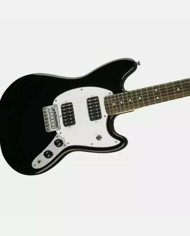 Squier Fender Mustang Electric Guitar - Black (Kurt Cobain Guitar) NEW UK