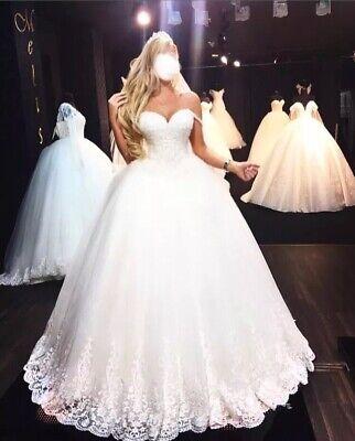 Ivory Prinzessinnen Brautkleid Hochzeitskleid Kristallsteinen Spitze Tüll (Kristall Hochzeit Kleid)