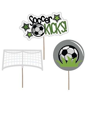 Soccer cupcake toppers Soccer picks Soccer Party Decorations Soccer Cake Topper - Soccer Cupcake Toppers