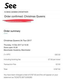 2 x VIP2 tickets Christmas's Queens