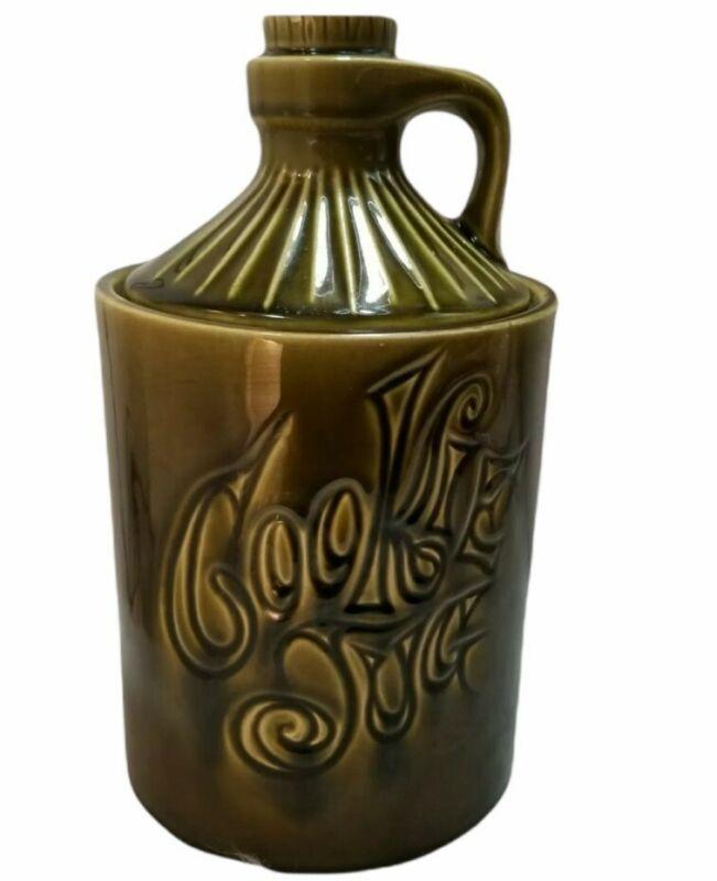 Vintage McCoy Moonshine Jug Cookie Jar Olive Green