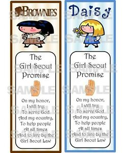 girl scout laminated daisy brownie promise bookmarks troop bridging event. Black Bedroom Furniture Sets. Home Design Ideas