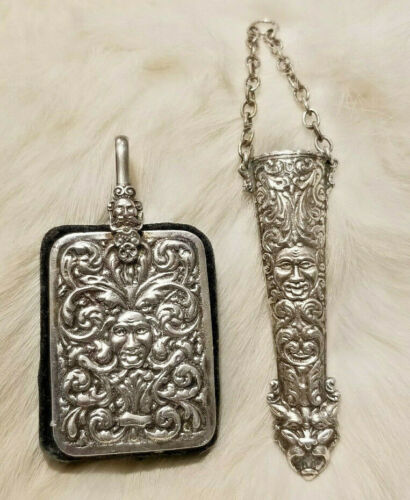 Antique sterling silver Chatelaine scissor sheath, and pin cushion