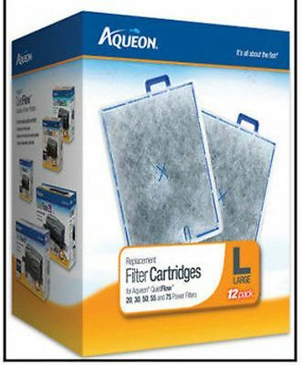 AQUEON LARGE 12 Pack FILTER CARTRIDGE FITS QUIET FLOW 20.30,55 & 75 FILTERS  ()