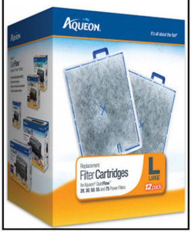 AQUEON LARGE 12 Pack FILTER CARTRIDGE FITS QUIET FLOW 20.30,55 & 75 FILTERS