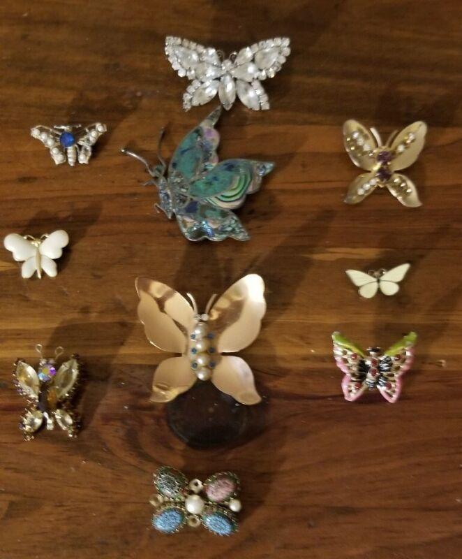 Lot 10 VINTAGE ENAMEL Rhinestone crystal BUTTERFLY BROOCHES COSTUME Jewelry