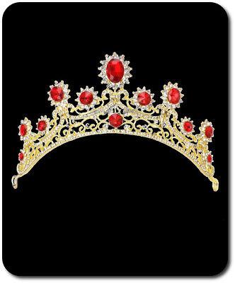 Luxus Tiara Diadem Kristall Strass Kranz Krone Hochzeit Braut Rote