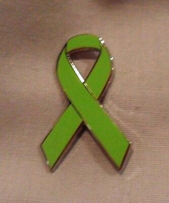 Green Awareness Ribbon Lapel Tie Hat Cap Pin Badge Bow Brooch