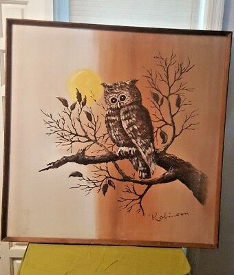 Large Signed Robinson Painting Owl on Canvas Vintage Retro Mid Centurey Modern