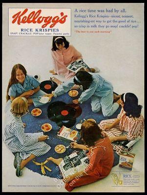 1965 Kellogg's Rice Krispies cereal girls slumber party photo vintage print ad