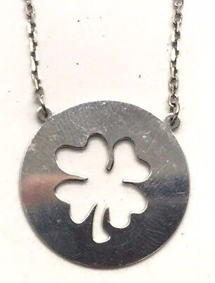 Sterling Silver 925 Four Leaf Clover Good luck St. Patrick's Day Irish Necklace