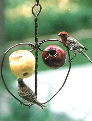 Copper Heart Double Fruit Apple Orange Oriole Bird Wildlife Feeder Made in USA
