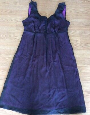 Kristin Davis Black Sheer Mini Lined In Violet Dressy Dress Size 6
