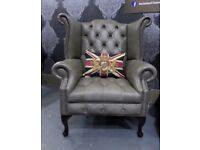 Limited Edition NEW Chesterfield Queen Anne Wing Back Chair in Grey Leather - Delivery
