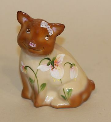 Fenton Art Glass Figurine Chocolate Glass Pig Seated Handpainted D Fredrick 1/36