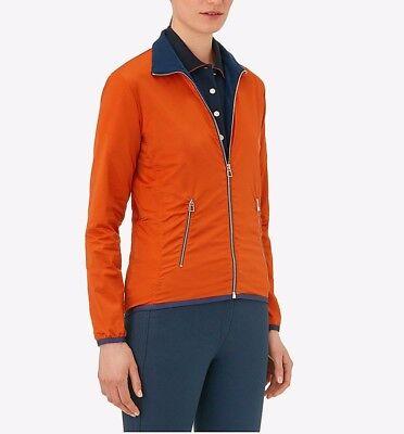 New Authentic HERMES Women Warmup Fleece jacket top Feu Orange Sport Zipper M