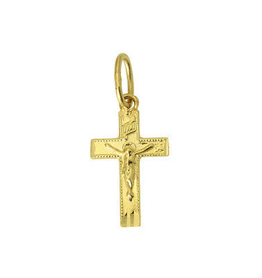 (14K Solid Real Yellow Gold Very Small Cross Crucifix Charm Pendant Baby Children)