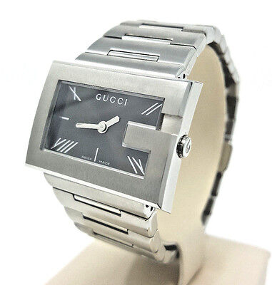 GUCCI RECTANGLE G-WATCH BLACK DIAL STAINLESS STEEL WOMAN'S WATCH YA100505