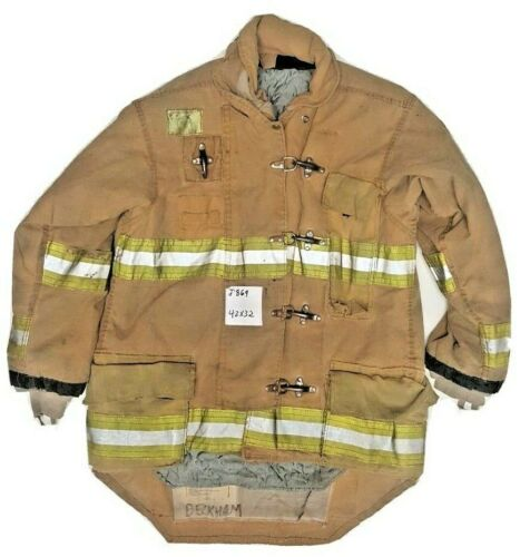 42x32 Morning Pride Firefighter Brown Turnout Jacket Coat with Yellow Tape J869