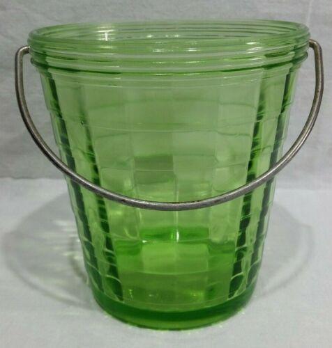 Anchor Hocking Block Optic Green Depression Glass Ice Bucket