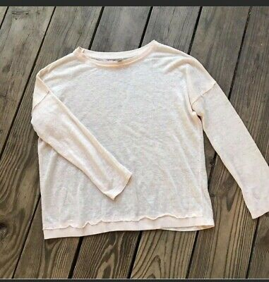 Zara Womens Small Pink Peach Knit Top Burn Out Casual Long Sleeves