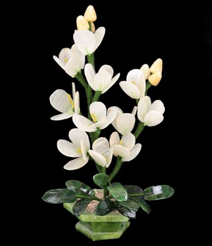 Feng Shui White Orchid Flower Jade Decorative Bonsai Money Tree Gemstone Plants