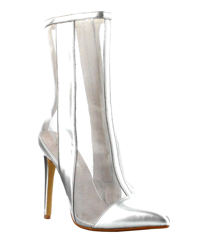 Cape Robbin Silver Mesh Ankle Boots Pointy toe Stiletto Heel
