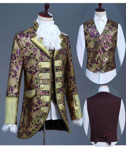 Retro Adult Men Court Formal Dress Drama Cosplay Costume Jacket Vest Pants Ths01