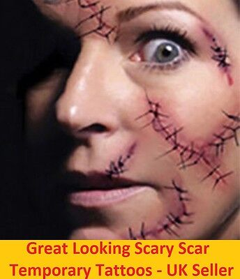 Halloween Zombie Scars Tattoos Fake Scabs Blood Scary Fun Costume Effect Make-Up