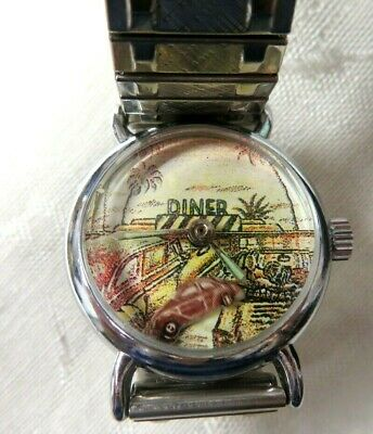 Animated Authentic-Out Of Time-Mechanical Watch-Diner/VW Bug Scene-Silver Tone