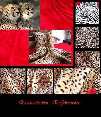 Kuscheldecke Tagesdecke Afrika Tierfellmuster Plüsch Leopard Zebra Gepard Tiger