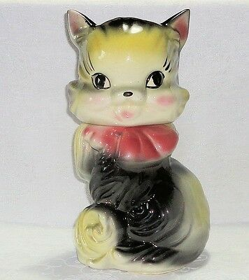 Vintage American Bisque FLUFFY Cat Cookie Jar Kitten Unusual Air Brushed NICE