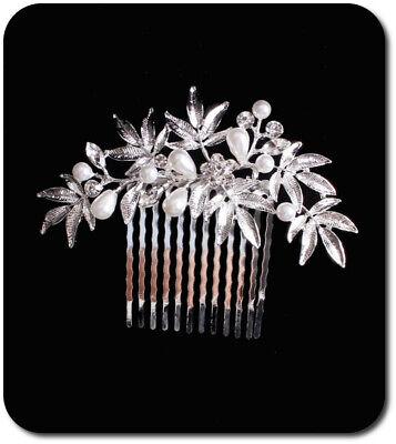 Haircomb Arreglo Del Pelo Boda Kammen Metal Novia Flores Estrás Perlas Imität