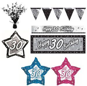 NEGRO-Y-PLATEADO-30-anos-Feliz-30th-fiesta-cumpleanos-ART-CULOS-Decoracion