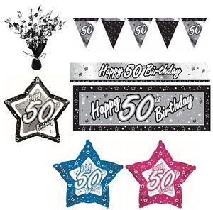 Negro-amp-Plata-ANOS-50-Feliz-50-Fiesta-Cumpleanos-Articulos-decoracion-Vajilla