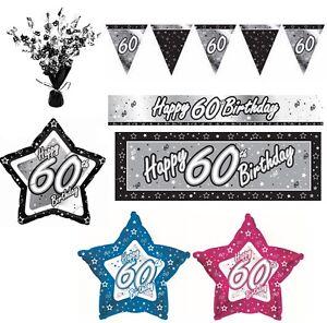 Negro-amp-Plata-ANOS-60-Feliz-60-Fiesta-Cumpleanos-Articulos-decoracion-Vajilla