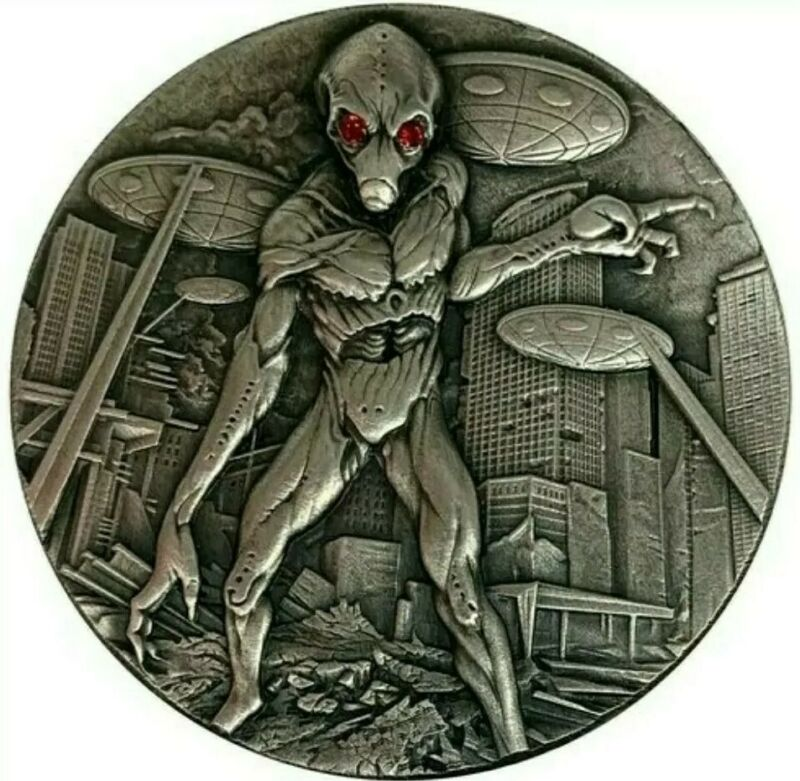 2018 2 Oz Silver ALIEN INVASION Antique Finish Coin With Swarovski Crystal Eyes.
