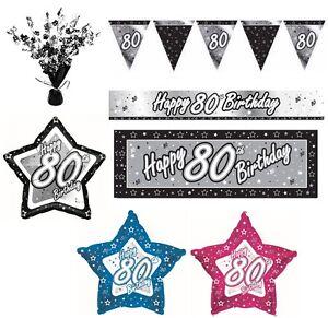 NEGRO-Y-PLATEADO-80-anos-Feliz-80th-fiesta-cumpleanos-ART-CULOS-Decoracion
