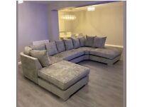 Luxe Chenille Fabric BELGRAVIA U-Shape Corner Sofa - Cash on Delivery