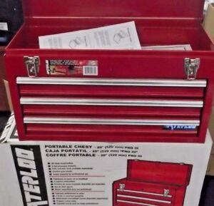 Waterloo PCH2030 20-1/2 L x 8-1/2 W x 12-3/4 High Red 3 Drawer Metal Tool Box