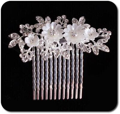 Haircomb Arreglo Del Pelo Boda Kammen Metal Novia Flores Estrás Esmalte Perlmutt