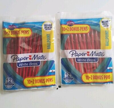 Lot Of 2 Paper Mate Write Bros 1.0mm Medium Point Ballpoint Pens 12 Pack Red