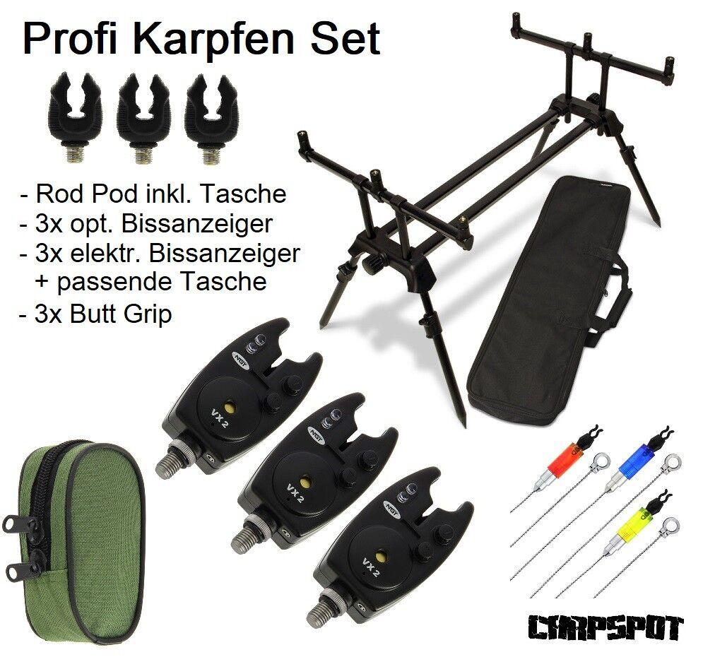 Karpfenangel Rod Pod + elektronischer Bissanzeiger Set Rutenhalter Dual Line NGT