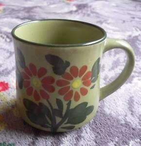 Vintage Green Ceramic Floral Mug. Made in Japan. 3073 Reservoir Darebin Area Preview