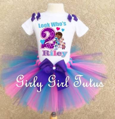 Doc Mcstuffins Birthday Outfit (Girls Custom Doc Mcstuffins Birthday Outfit Party Dress)