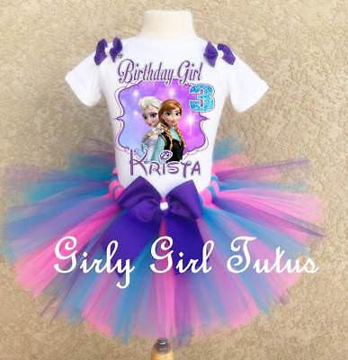 Frozen Elsa and Anna Custom Birthday Tutu Outfit Personalized Add Name Age Set