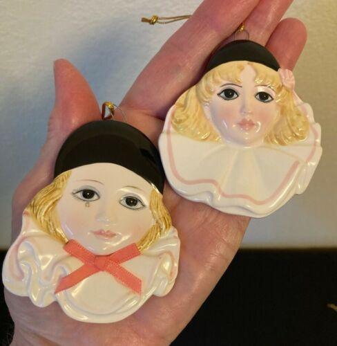TWO NEW Schmid Ornaments Pierrot Love & Baby Love MICHEL OKS 1981 Japan