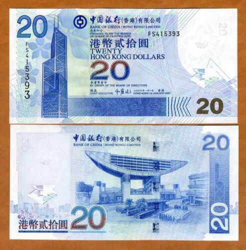 Hong Kong, $20, 2007, BOC, P-335d UNC