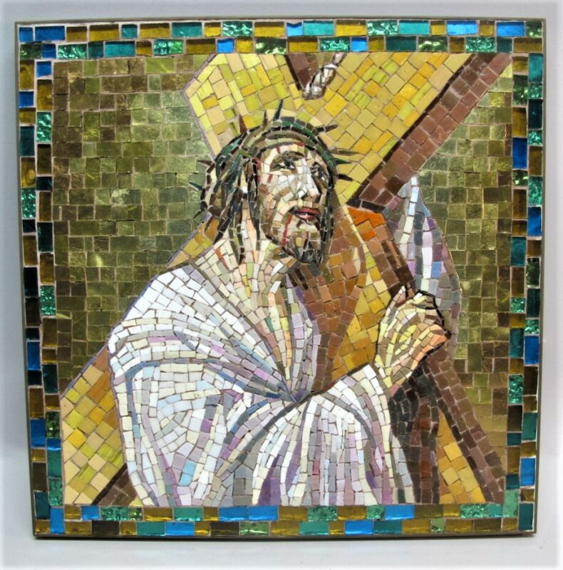 Master-Crafted+Gold+Tile+ITALIAN+MOSAIC+Plaque+of+Jesus+ORSONI+VENEZIA+VENICE+2